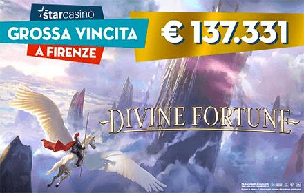 STARCASINÒ, VINTI 137MILA EURO SU DIVINE FORTUNE